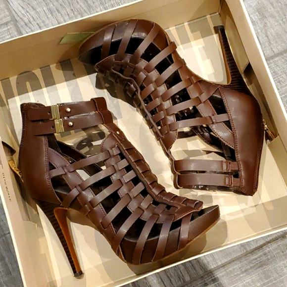 BCBG brown leather open toe heeled booties